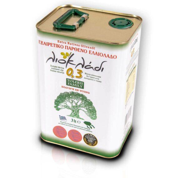 Oliwa z oliwek extra virgin Liocladi premium puszka 3 litry 0,3% | Kolebka Smaku