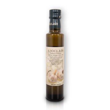 Oliwa z oliwek extra virgin Liocladi smakowa szklana butelka 250 ml czosnek | Kolebka Smaku
